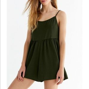 Urban Outfitters Tie Straps Romper // Olive Green